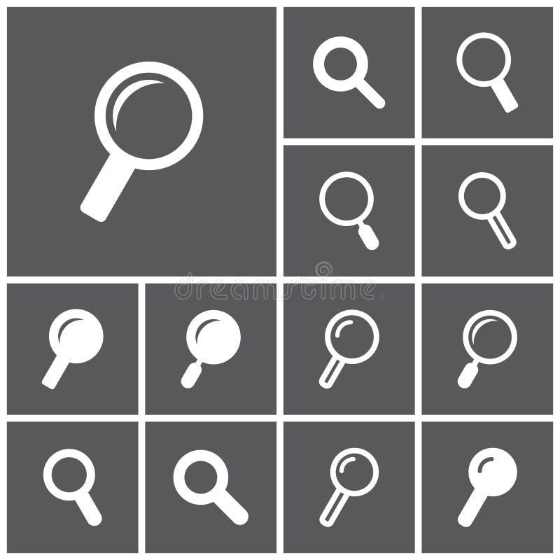 Sökandesymboler stock illustrationer