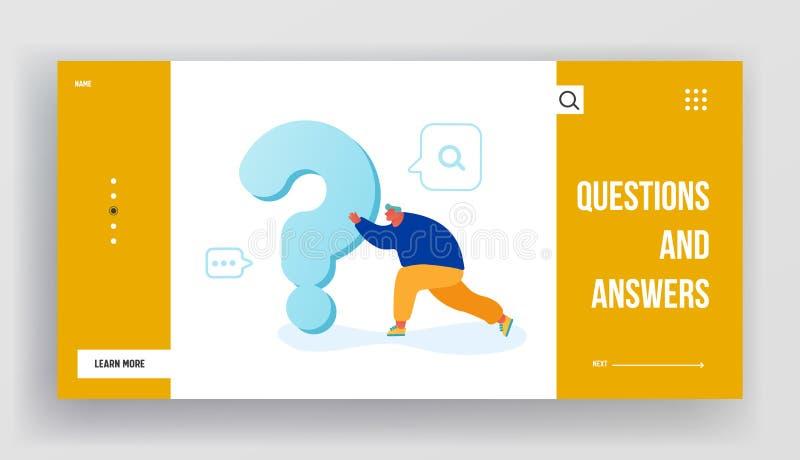 Söker efter svar eller landningssida på lösningens webbplats Manliga tecken som skjuter på ett enormt tungt frågetecken vektor illustrationer