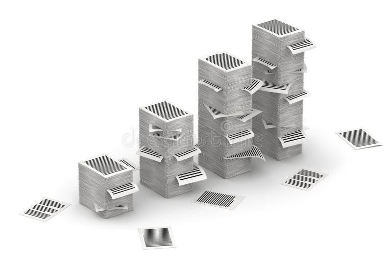 Söker isometry pappers- buntar 3d royaltyfri illustrationer