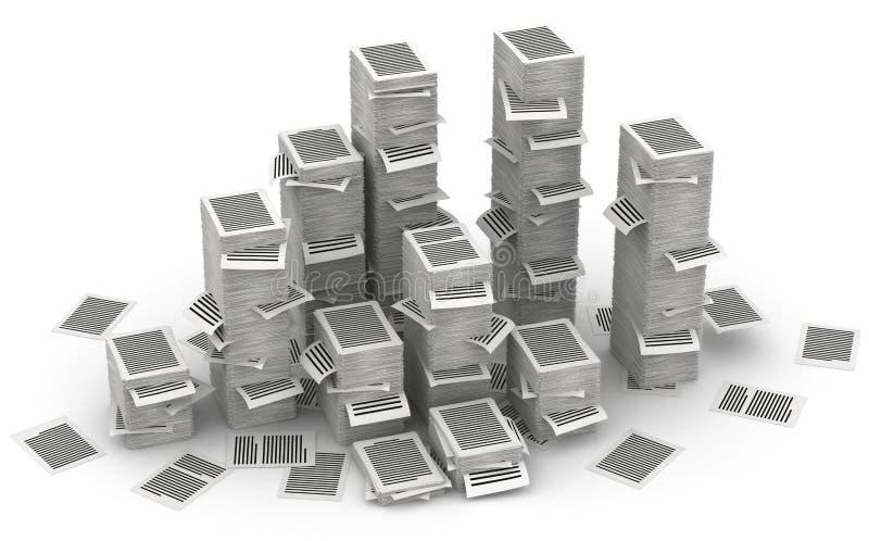 Söker isometry pappers- buntar 3d stock illustrationer