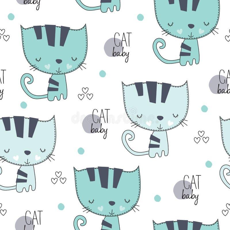 Sömlös älskvärd gullig illustration för kattmodellvektor royaltyfri illustrationer