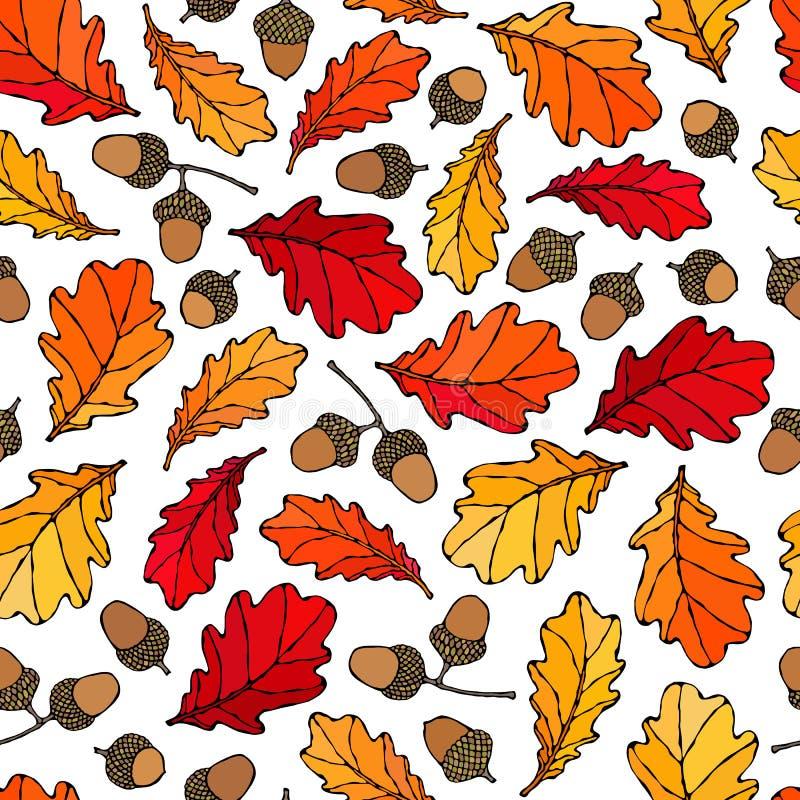 Sömlös ändlös modell av eksidor och ekollonar yellow för orange red Höst eller nedgångskördsamling Dragen realistisk hand royaltyfri illustrationer