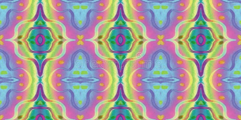 Sömlös ändlös upprepande ljus prydnad av mång--färgade geometriska former vektor illustrationer