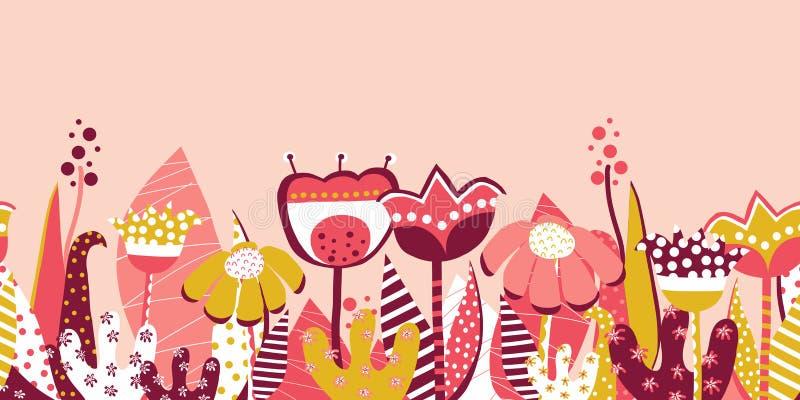 Sömlös äng för blomma för vektorgränsvår Utdragna plana blommor för skandinavisk stilhand Botanisk sommarillustration collage stock illustrationer