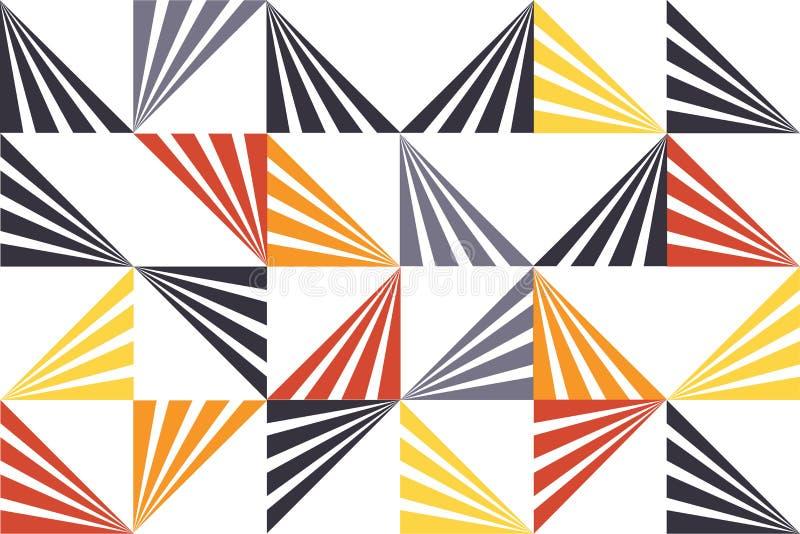 Sömlös abstrakt bakgrundsmodell som göras med band som bildar triangelformer stock illustrationer