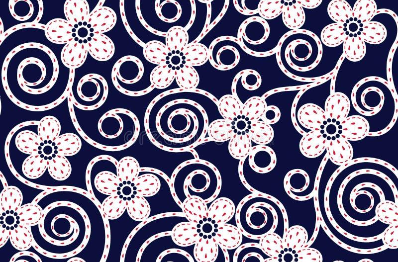 Sömlös abstrakt blom- modell med marinbakgrund royaltyfri illustrationer