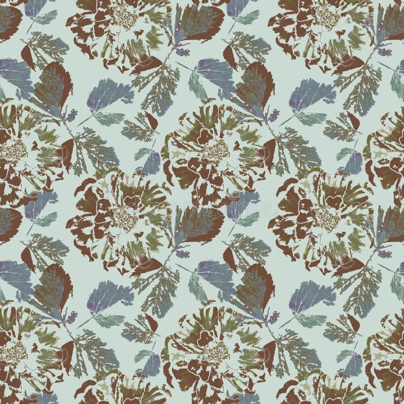 Sömlös abstrakt blom- retro modell Bruna blommor, blåa sidor på grå bakgrund royaltyfri illustrationer