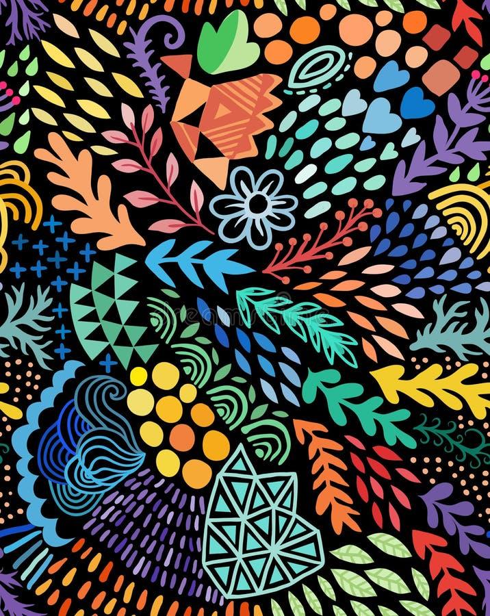 Sömlös abstrakt botanisk etnisk målning för vektorvattenfärg Konstnärligt handgjort batiktryck, blom- orientalisk textil vektor illustrationer