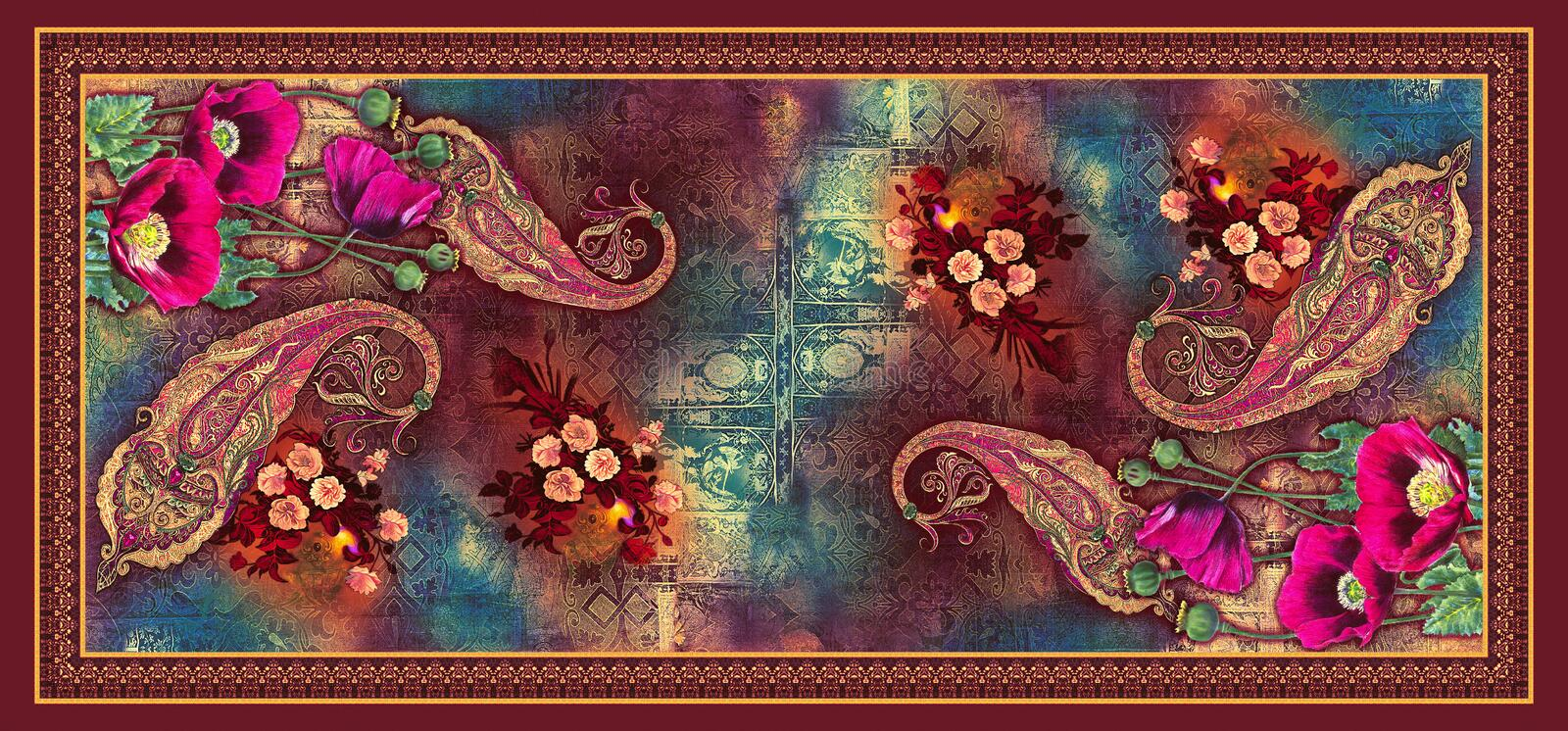 S?ml?s abstrakt digital bakgrundstulpanblomma med h?rliga paisley stock illustrationer