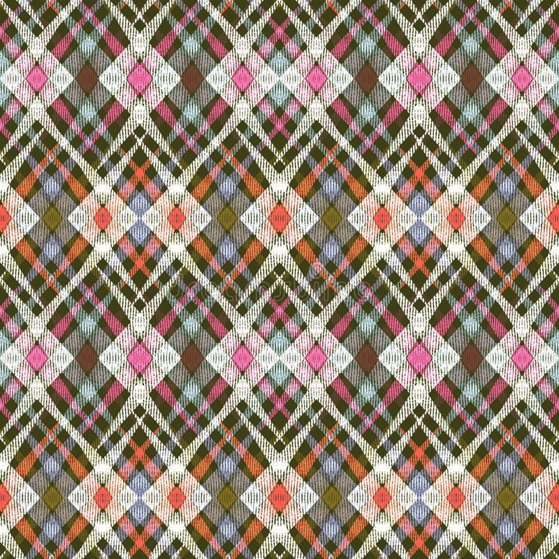 Sömlös abstrakt etnisk geometrisk prydnad Röd olivgrön bakgrund vektor illustrationer