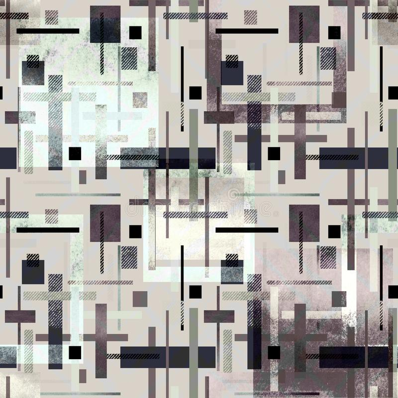 Sömlös abstrakt färgrik modell med vattenfärgeffekt Grå färgbakgrund stock illustrationer