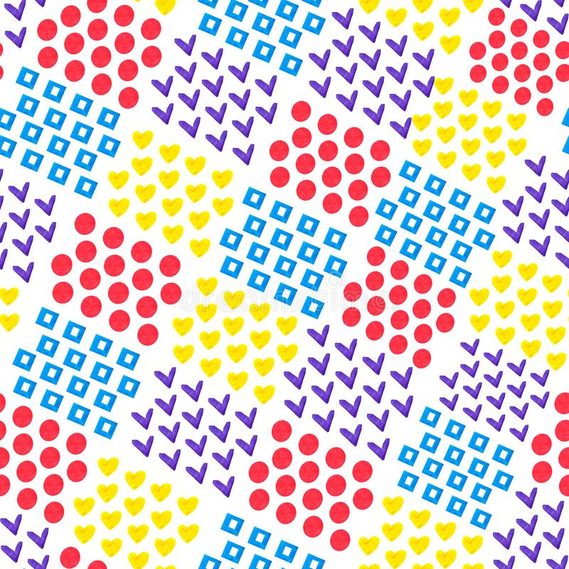 Sömlös abstrakt geometrisk bakgrund av hjärta och fyrkant och cirkel och fästing på vit bakgrund i vattenfärgstil royaltyfri illustrationer