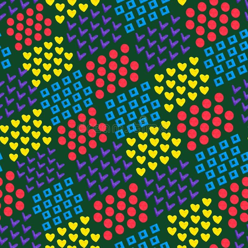 Sömlös abstrakt geometrisk bakgrund av olika tegelstenformer hjärta och fyrkant och cirkel och fästing på mörk bakgrund _ royaltyfri illustrationer