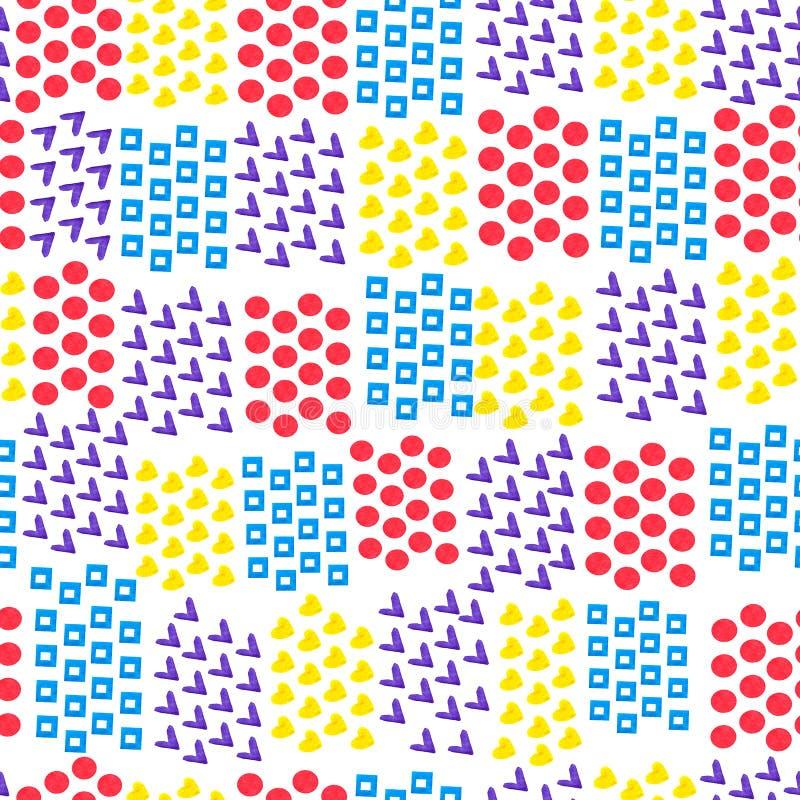 Sömlös abstrakt geometrisk bakgrund av olika tegelstenformer hjärta och fyrkant och cirkel och fästing på vit bakgrund _ stock illustrationer