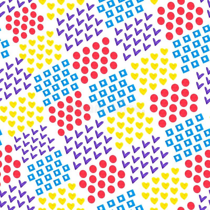 Sömlös abstrakt geometrisk bakgrund av tegelplattor av olika former hjärta och fyrkant och cirkel och fästing på vit bakgrund _ royaltyfri illustrationer