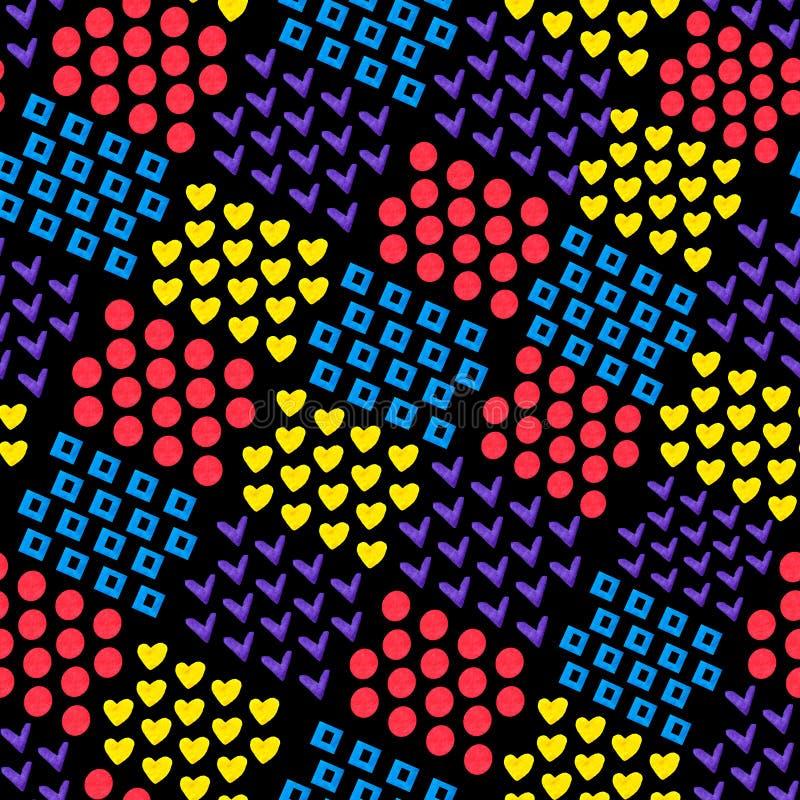 Sömlös abstrakt geometrisk bakgrund från olika former hjärta och fyrkant och cirkel och fästing på svart bakgrund Diagramen vektor illustrationer