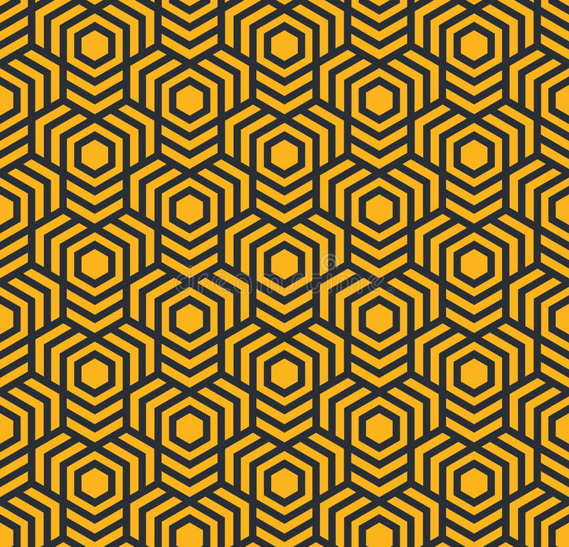 Sömlös abstrakt geometrisk modell med sexhörningar - eps8 stock illustrationer