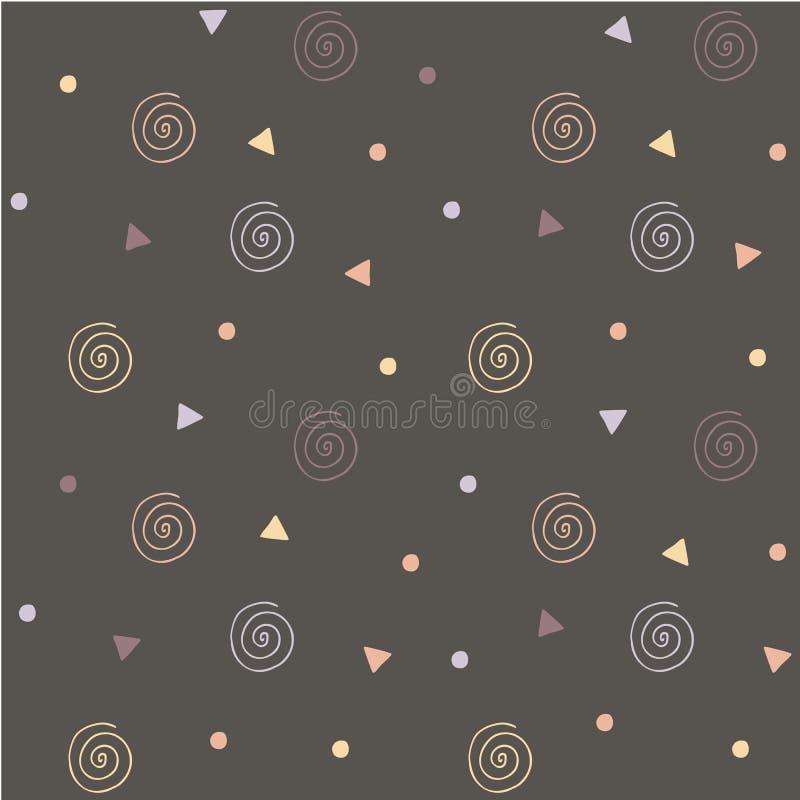 Sömlös abstrakt grå bakgrund med gula virvlar, apelsin, blå triangel, fläck vektor illustrationer