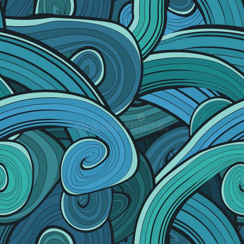Sömlös abstrakt hand dragen vågmodell wavy royaltyfri illustrationer