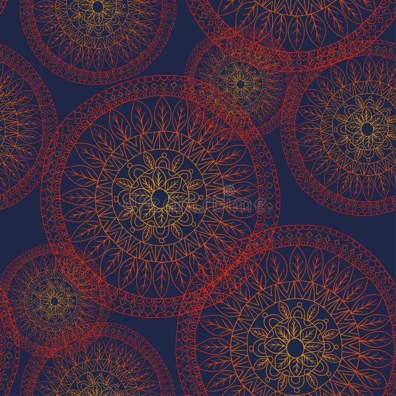 Sömlös abstrakt klotterblommamodell i vektor royaltyfri illustrationer