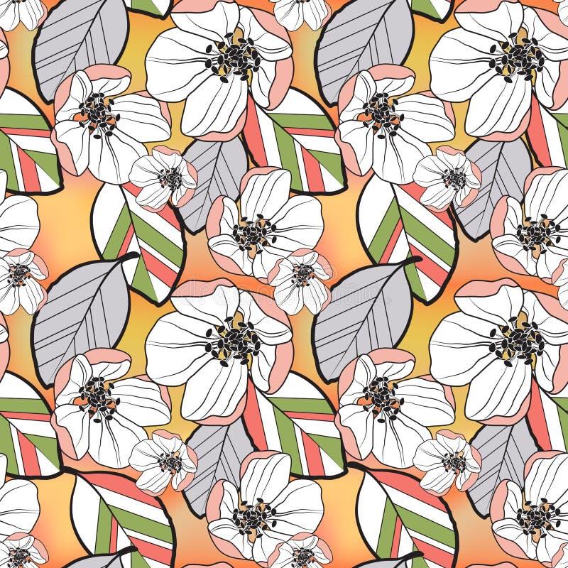 Sömlös abstrakt modell av färgrika sidor och vita blommor för aprikos av Apple träd, på guling-apelsin en suddig lutning royaltyfri illustrationer
