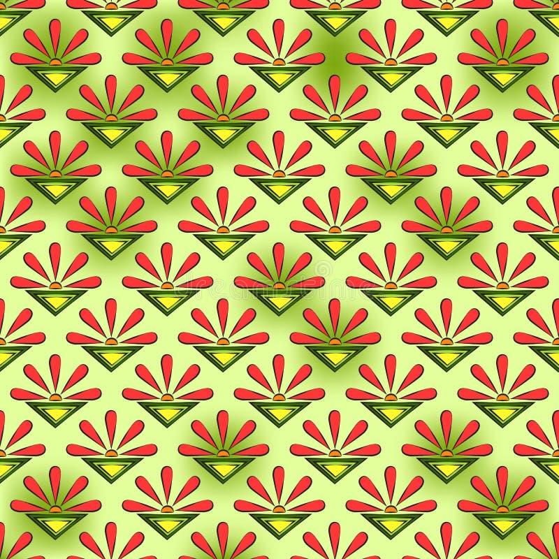 Sömlös abstrakt modell av korallsolar, blommor och färgtrianglar, på guling-gräsplan en prickig bakgrund vektor illustrationer
