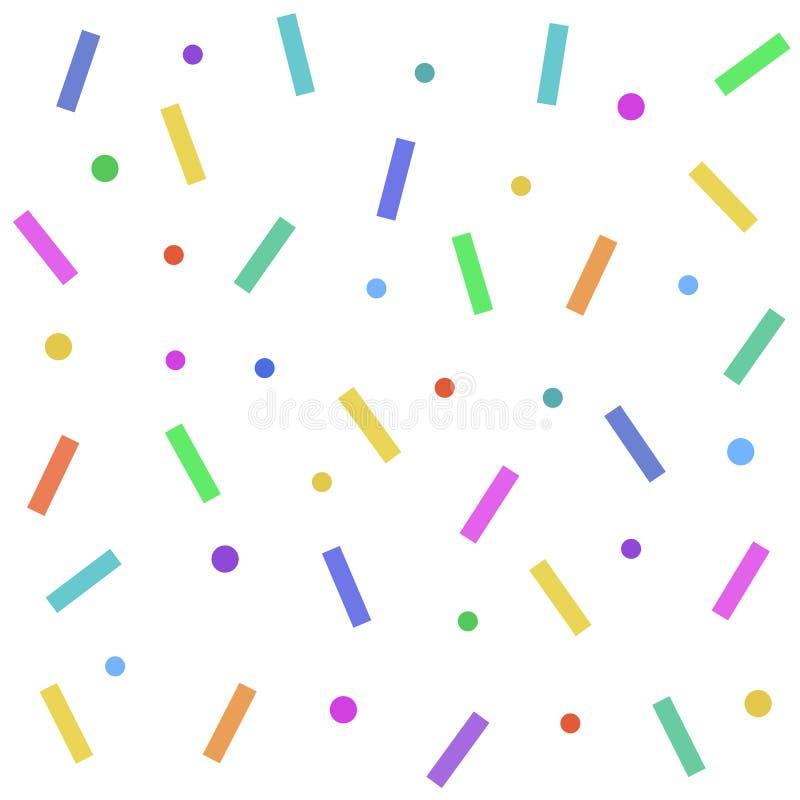 Sömlös abstrakt modell av kulör glasyr med konfettier också vektor för coreldrawillustration stock illustrationer