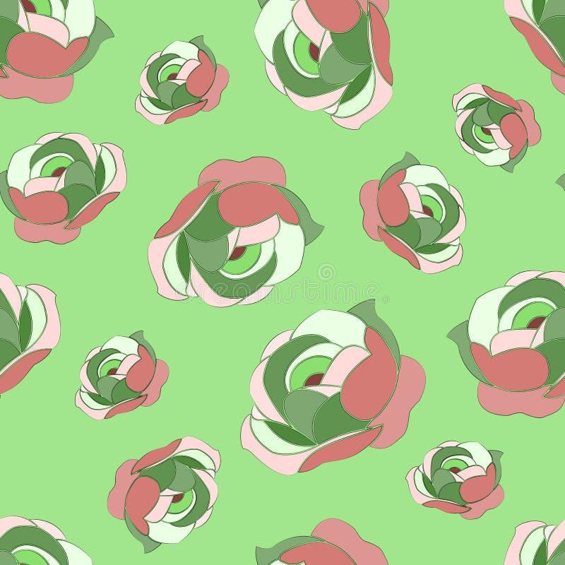 Sömlös abstrakt modell av mång--färgade pioner, på ett ljust - grön bakgrund vektor illustrationer
