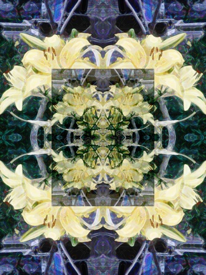 Sömlös abstrakt modell av mångfärgade blom- beståndsdelar stock illustrationer