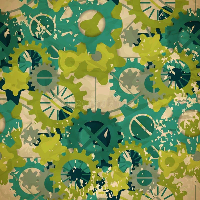 Sömlös abstrakt modell av pastellgräsplankugghjulet i tappningstil royaltyfri illustrationer