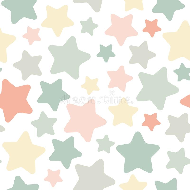 Sömlös abstrakt modell med gulliga stjärnor Visa peachy och gula färger för gräsplan, stock illustrationer