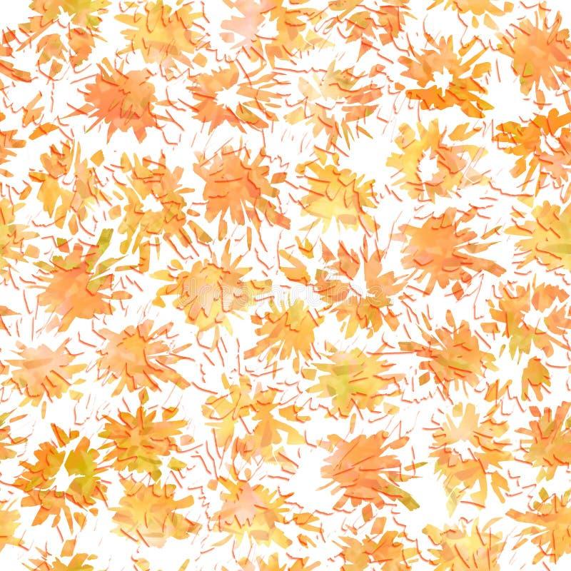 Sömlös abstrakt modell med orange färgstänk och fläckar stock illustrationer