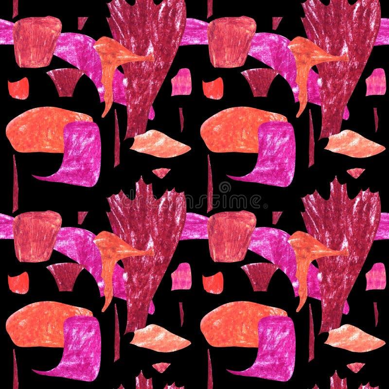 S?ml?s abstrakt modell med orange och rosa geometriska former royaltyfri illustrationer