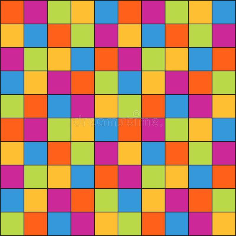 Sömlös abstrakt modell som göras av färgrika små fyrkanter med lin vektor illustrationer