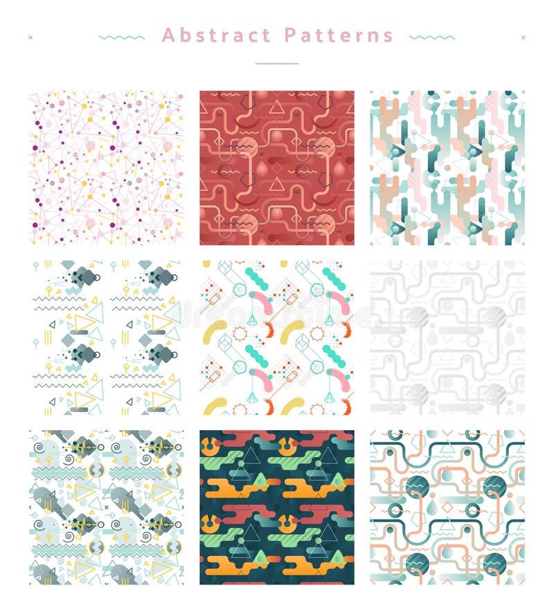 Sömlös abstrakt modellvektorsamling vektor illustrationer
