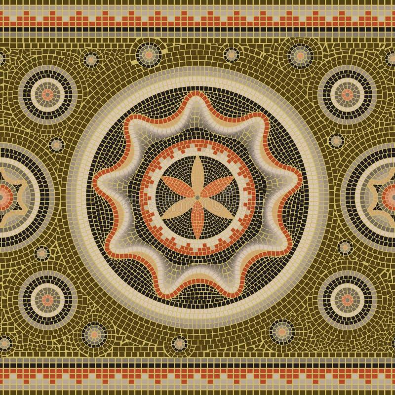 Sömlös abstrakt mosaik- gräns för modellmosaiktextur royaltyfri illustrationer