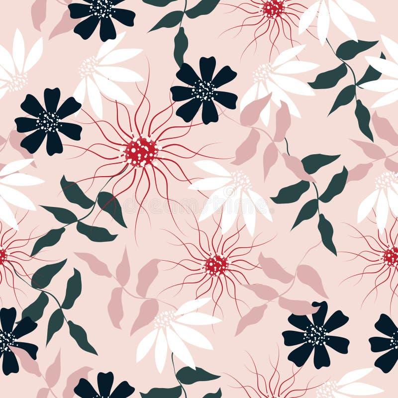 Sömlös abstrakt pastellfärgad bakgrund för blommamodell royaltyfri bild
