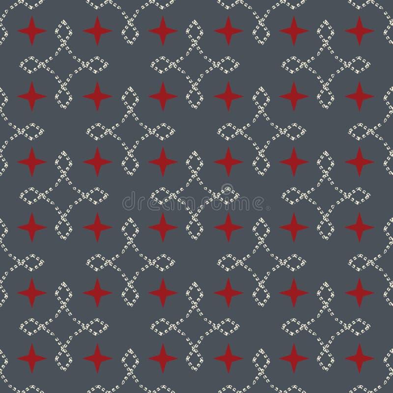 Sömlös abstrakt retro geometrisk modell Blandade rektanglar och stjärnor i vertikal och horisontalorientering stock illustrationer