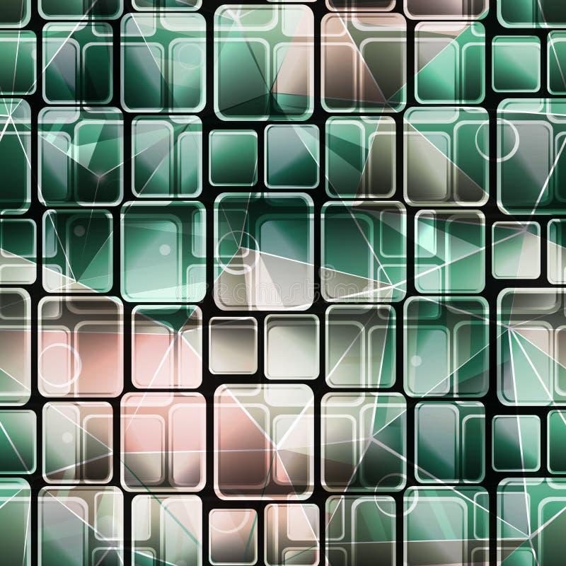 Sömlös abstrakt retro geometrisk modell Gröna rosa fyrkanter royaltyfri illustrationer
