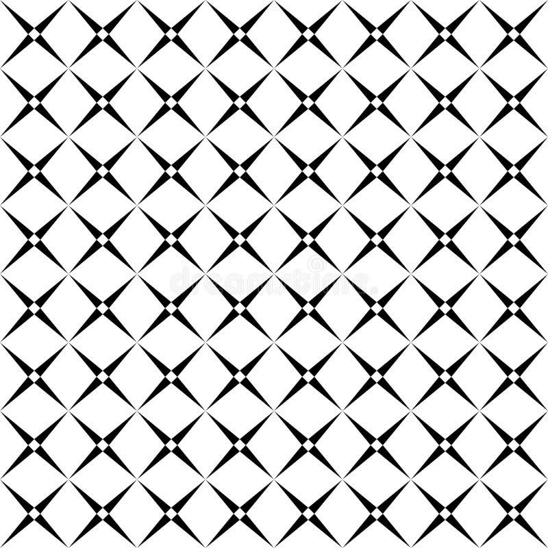 Sömlös abstrakt svartvit fyrkantig rastermodell - rastrerad vektorbakgrundsdesign från diagonala rundade fyrkanter vektor illustrationer