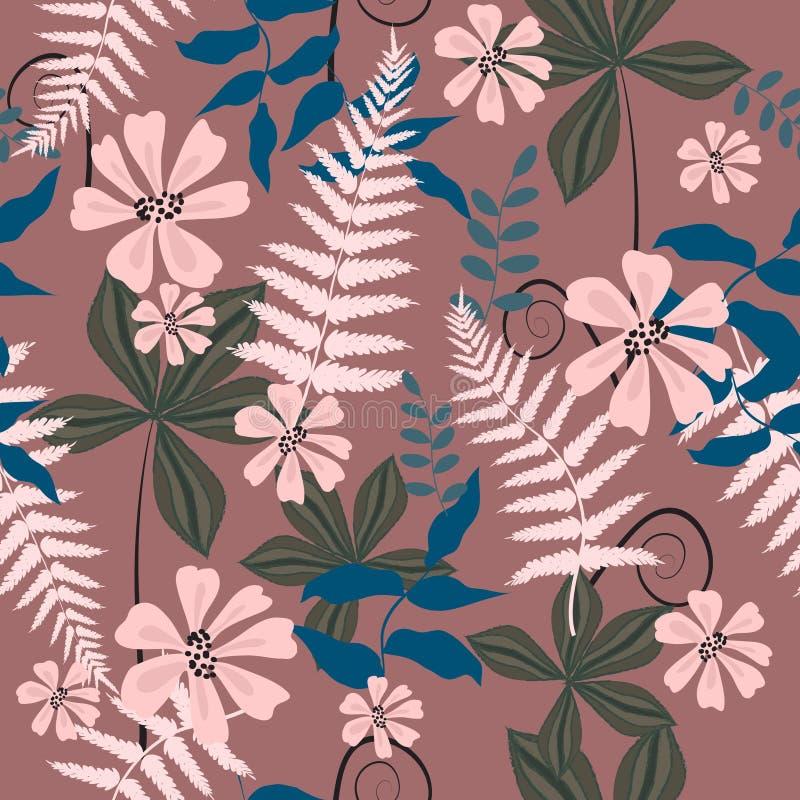 Sömlös abstrakt tropisk blom- yttersidamodellbakgrund fotografering för bildbyråer