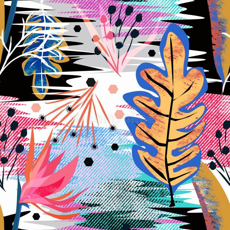 Sömlös abstrakt tropisk modell Rött blommor, färgrika sidor royaltyfri illustrationer