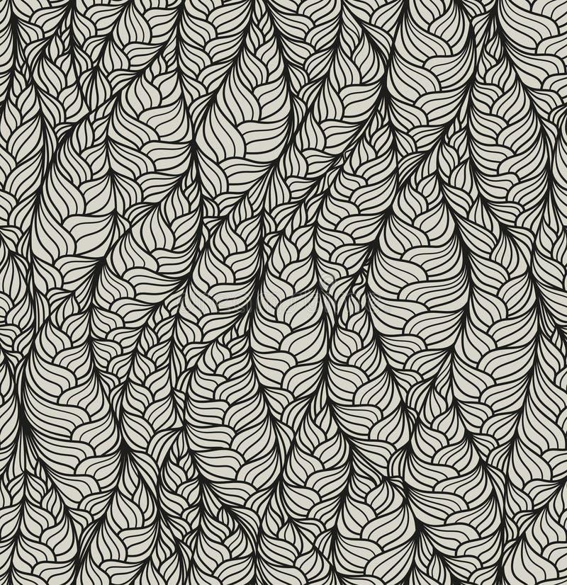 Sömlös abstrakt vektormodell med hand dragen strukturell bevekelsegrund Ändlös linjär krabb textur stock illustrationer