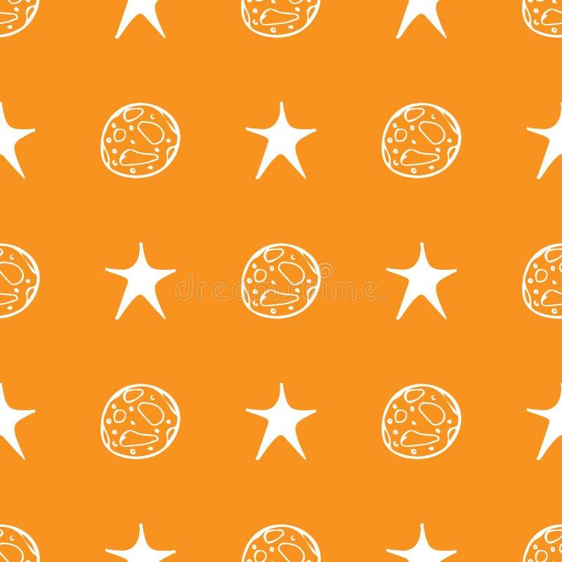 Sömlös allhelgonaafton för svart månestjärna på orange bakgrund Bakgrund för vektor för nattstjärnamodell Behandla som ett barn i royaltyfri illustrationer