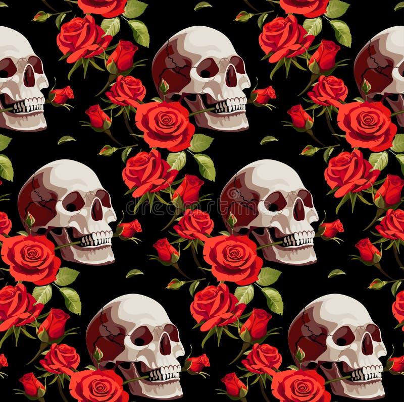 Sömlös allhelgonaaftonmodell med skallar och röda rosor på en svart bakgrund vektor illustrationer