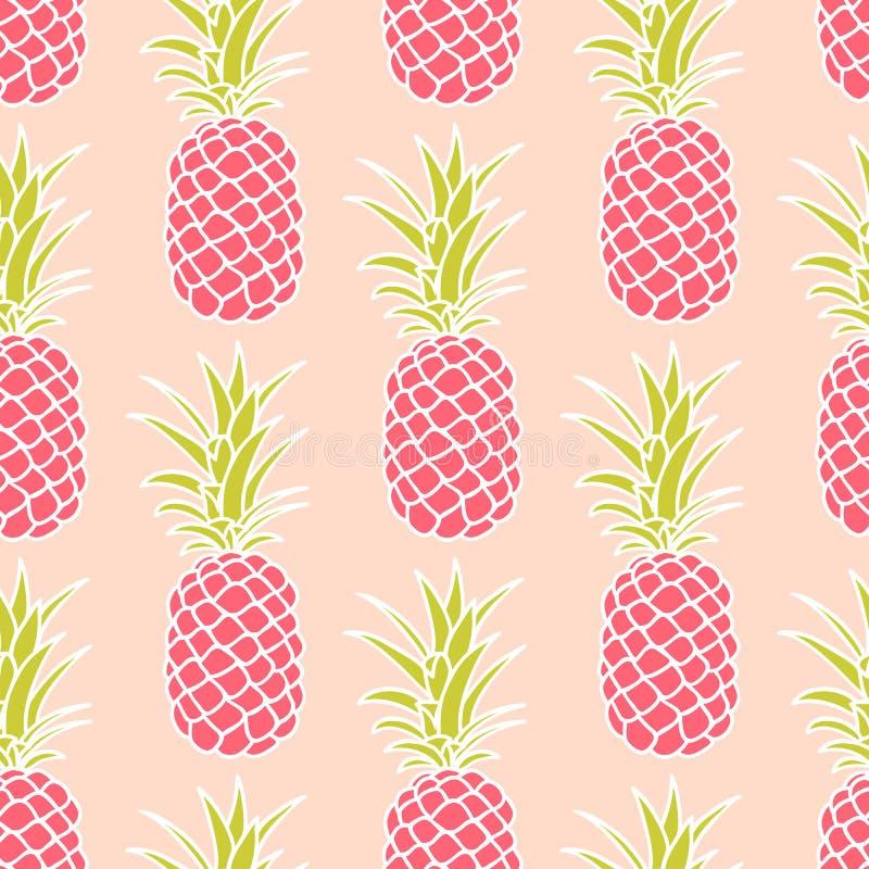 Sömlös ananasmodell royaltyfri illustrationer