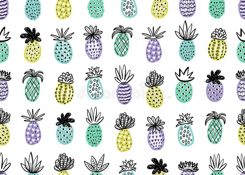 Sömlös ananasmodell Handdrawn ananas med olika texturer i pastellfärgade färger Exotisk fruktbakgrund för royaltyfri illustrationer