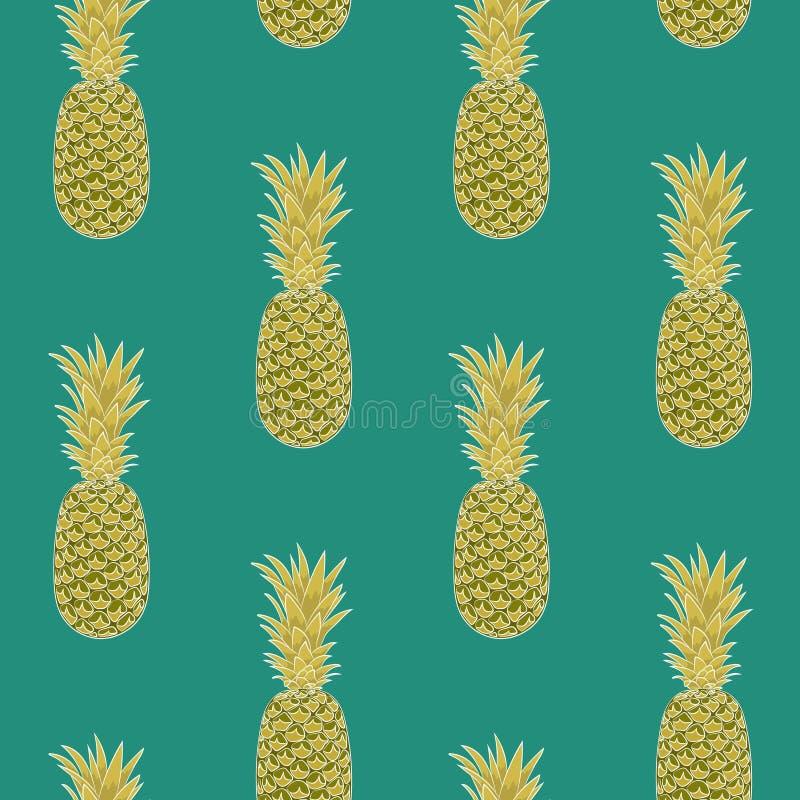 Sömlös ananasmodell på grön bakgrund ordnat vertikalt vektor illustrationer