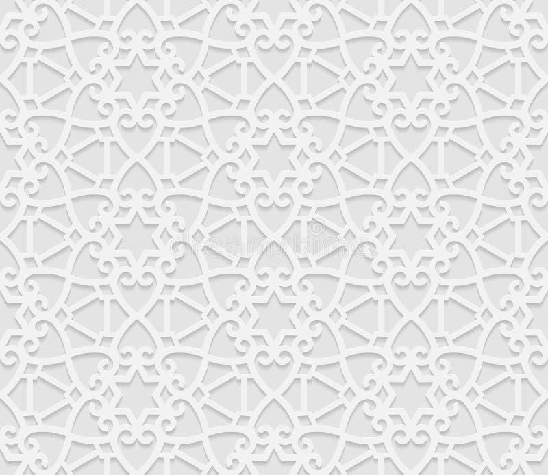 Sömlös arabisk geometrisk modell, 3D vit modell, indisk prydnad, persiskt motiv, vektor Ändlös textur kan användas för wal stock illustrationer
