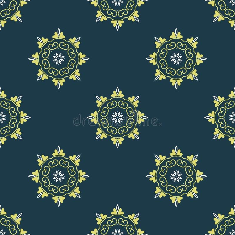 Sömlös arabisk modell för vektor med rundade beståndsdelar Bakgrund i guling och mörker - blåttfärger abstrakt textur för tyg för royaltyfri illustrationer